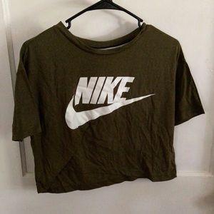 Green Nike crop top